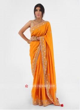 Simple Border Work Orange Color Silk Saree