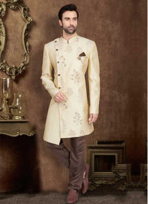 Simple Cream And Brown Color Art Silk Indo-Western