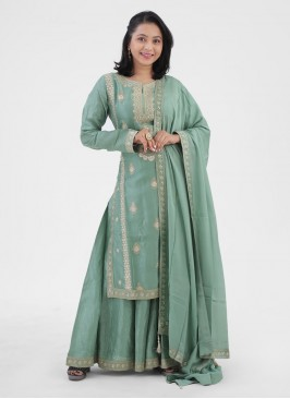 Palazzo Suits Party Wear In Pista Green Color