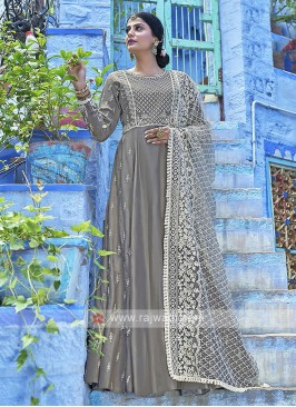Simple Grey Color Anarkali Suits