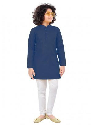 Simple Kurta Pajama In Blue And White Color