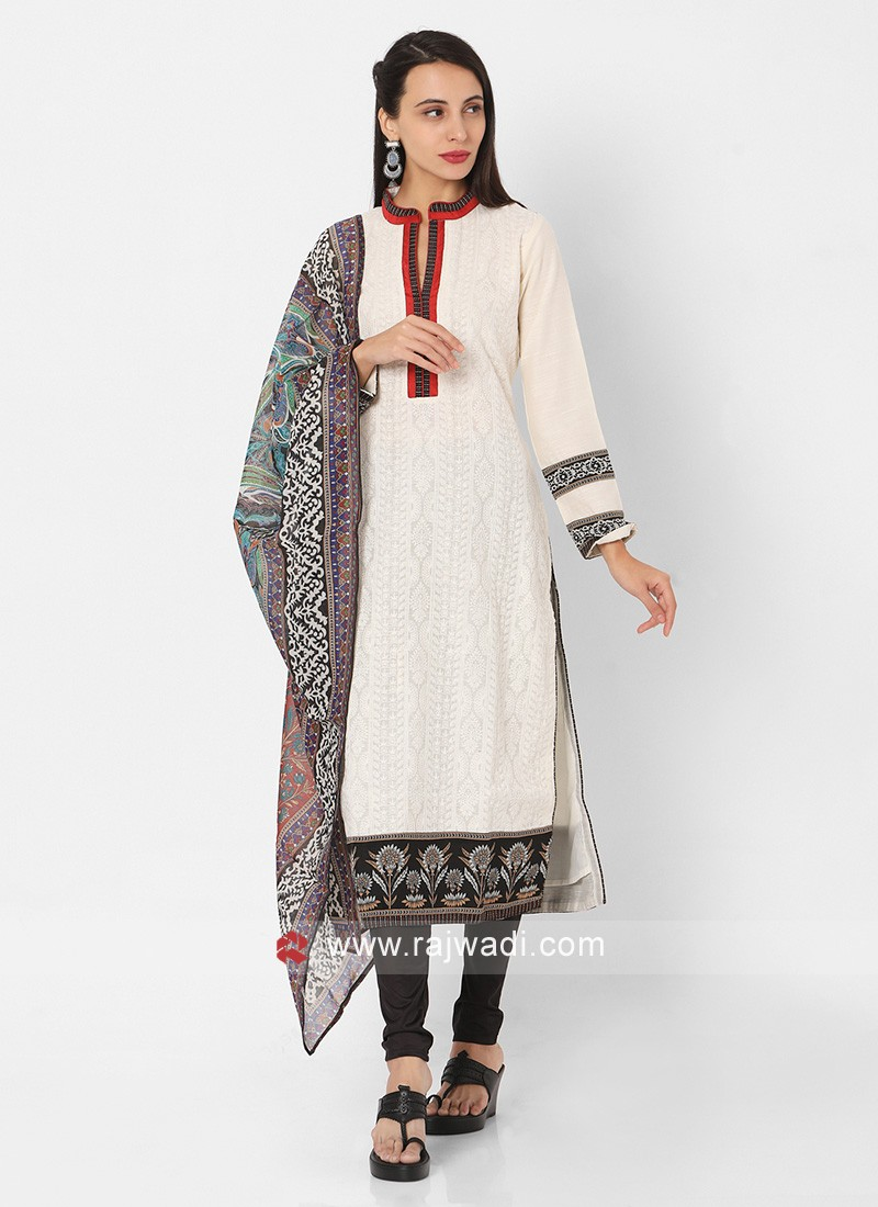 Off White And Black Color Churidar Suit