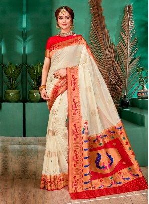 Simple Off-White Color Banarasi Silk Saree