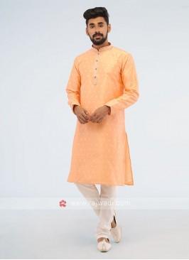 Simple Peach Color Art Silk Kurta Pajama