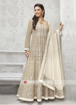 Skin and cream color Anarkali suit