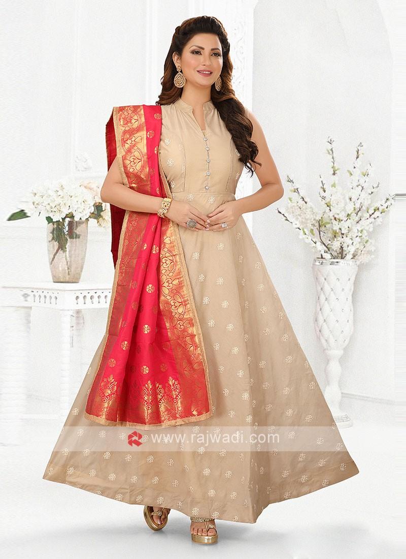 Skin Color Anarkali Suit