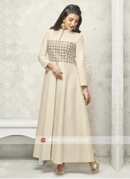 Skin color cotton silk anarkali suit