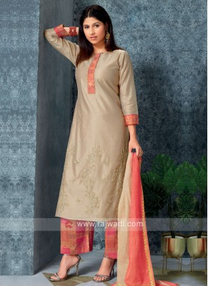 Skin color kurta with Palazzos & Stole