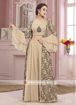 Skin color palazzo suit with koti