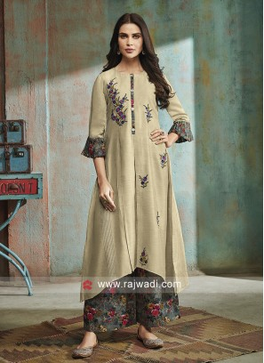 Skin Color Resham Work Palazzo Suit