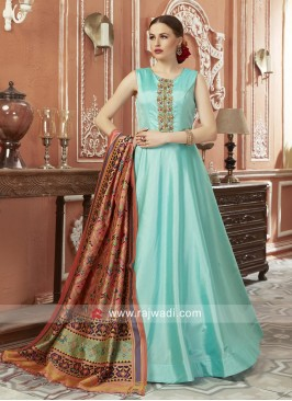 Sky Blue Anarkali with Multicolor Dupatta