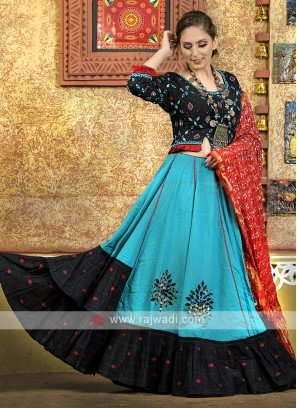 Sky blue and black color navratri chaniya choli