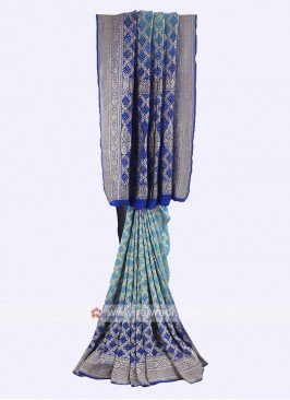 Sky blue and blue chiffon saree