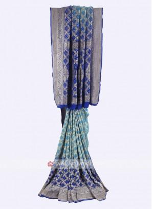 Sky blue and blue chiffon saree