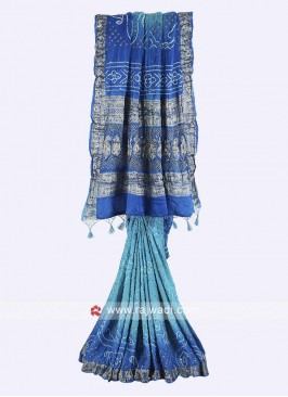Sky blue and blue gajji silk bandhani saree