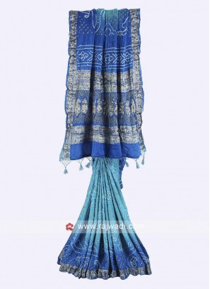 Sky blue and blue gajji silk bandhani saree