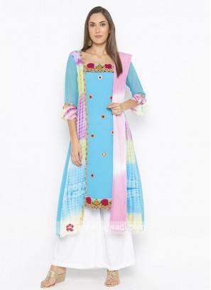 Sky Blue and Multi colour palazzo suit