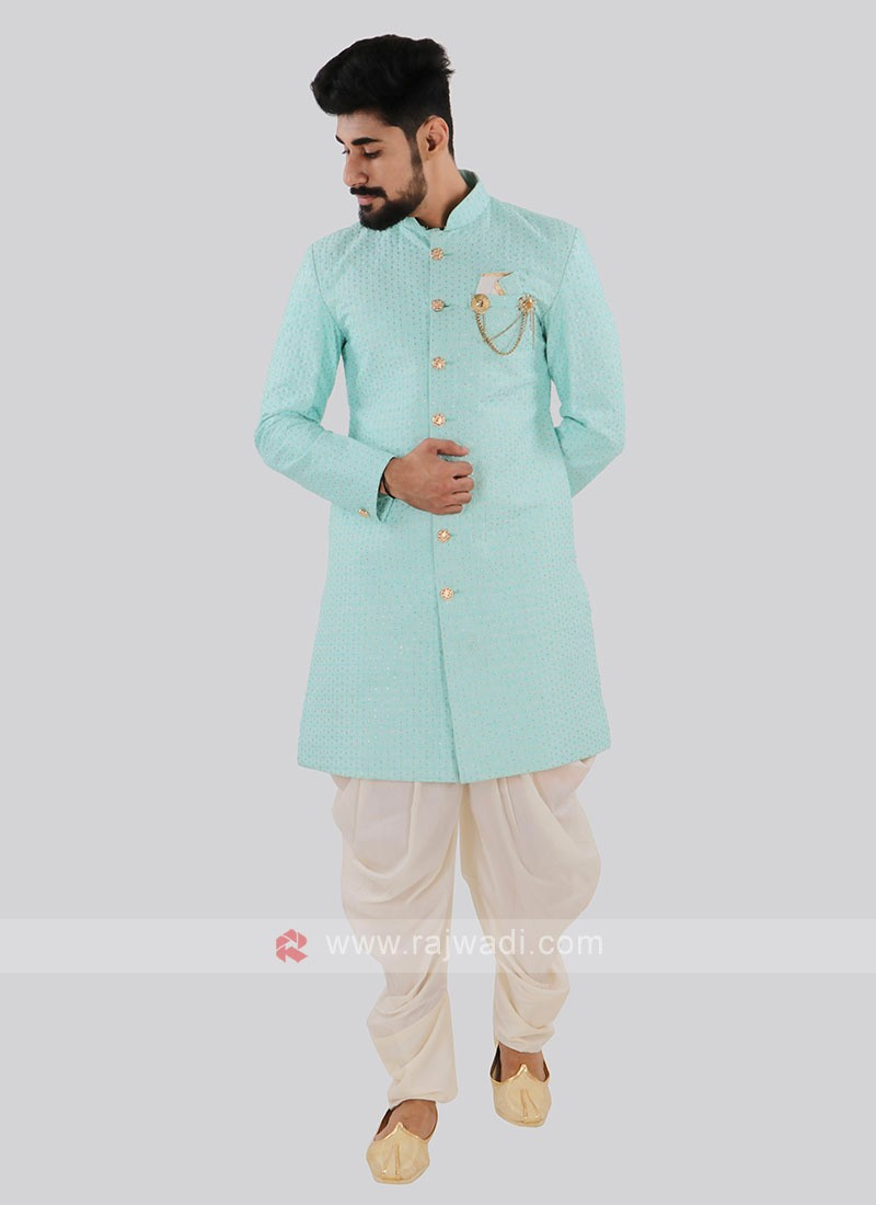 Sky Blue And Off White Indo Western
