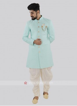 Sky Blue And Off White Patiala Suit
