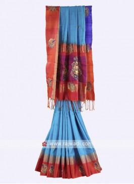 Sky blue and rust color pure silk saree