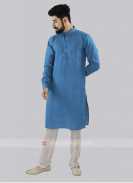 Sky Blue And Off White Linen Kurta Set