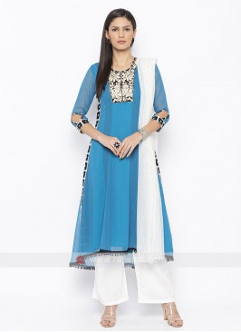 Sky Blue And White Salwar Suit
