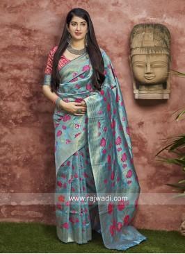 Sky Blue Banarasi Silk saree
