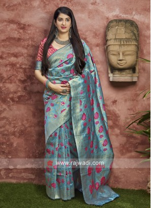 Sky Blue Banarasi Silk saree
