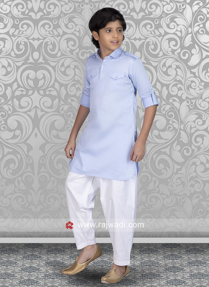 Sky Blue Boys Pathani Suit