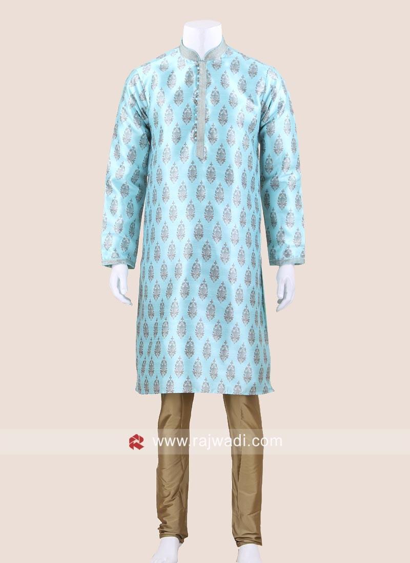 Sky Blue Brocade Silk Kurta Pajama