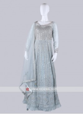 Sky Blue Color Anarkali Suit with dupatta