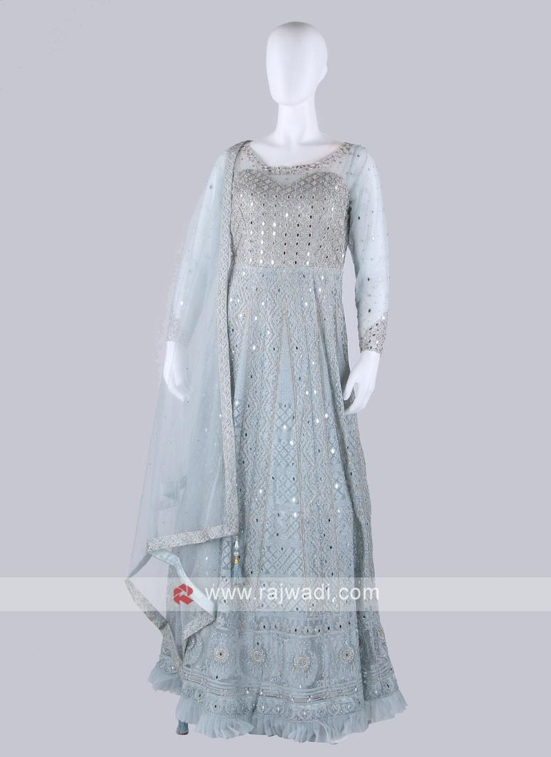 Sky Blue Color Anarkali Suit with dupatta