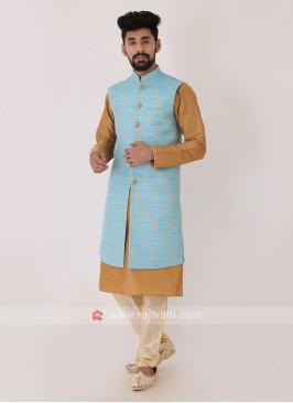 Sky Blue Color Jacquard Fabric Nehru Jacket Set