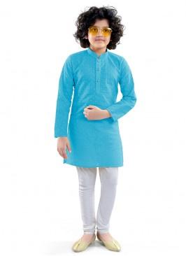 Sky Blue Color Kurta Pajama For Boys