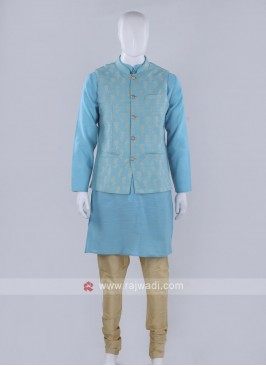 Sky blue color nehru jacket with kurti set