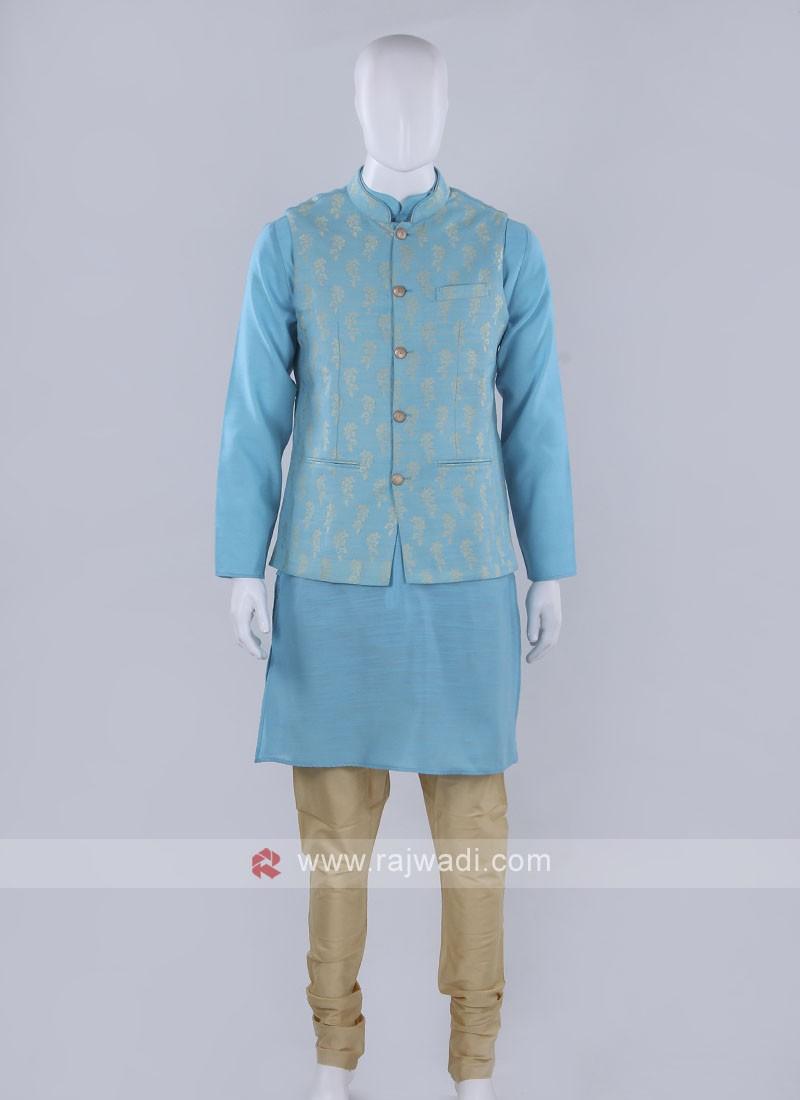 Sky blue color nehru jacket with kurti set