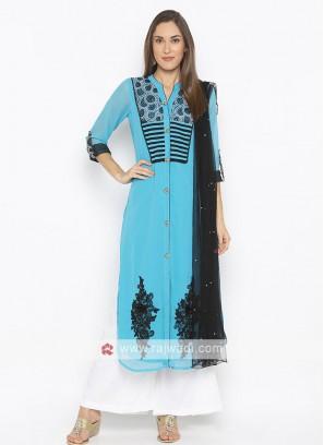 Sky Blue Colour Palazzo Suit