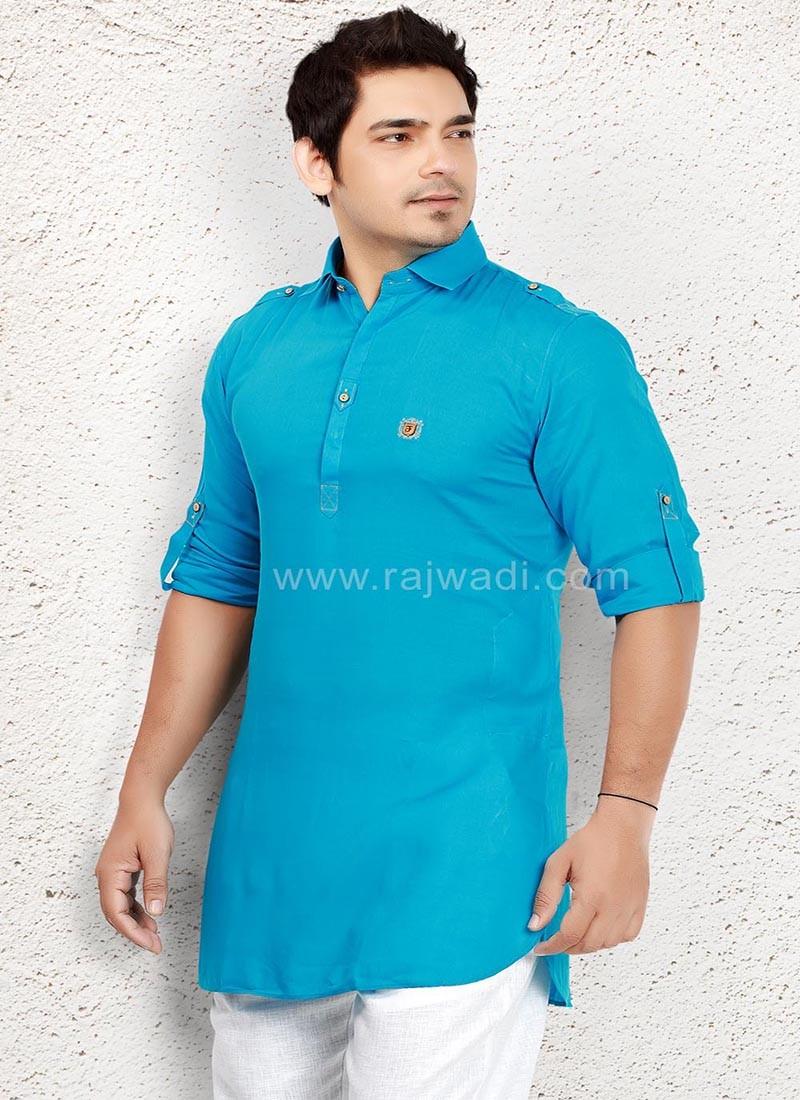 Sky Blue coloured Kurta for Men