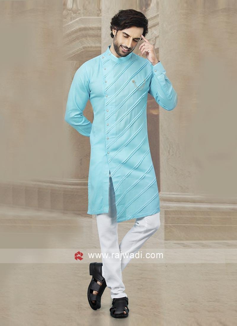 Sky Blue Cotton Kurta Pajama