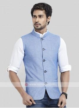 Sky Blue Cotton Silk Koti
