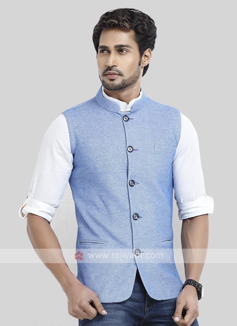 Sky Blue Cotton Silk Nehru Jacket