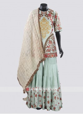 Sky Blue Designer Gharara and Dupatta