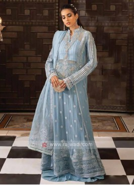 Sky Blue Embroidery Dress Material