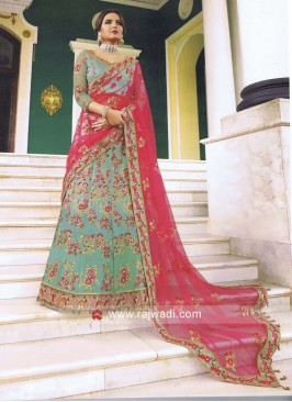 Sky Blue Floral Embroidered Lehenga Set