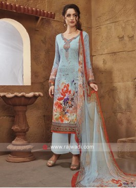Sky Blue Flower Print Salwar Suit
