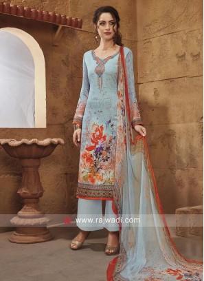 Sky Blue Flower Print Salwar Suit