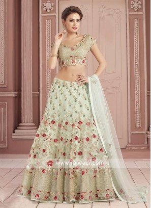 Sky Blue Flower Work Choli Set