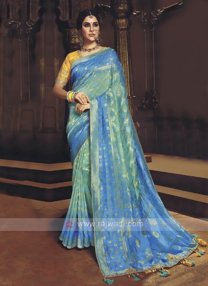 Sky Blue & Green Shaded Saree