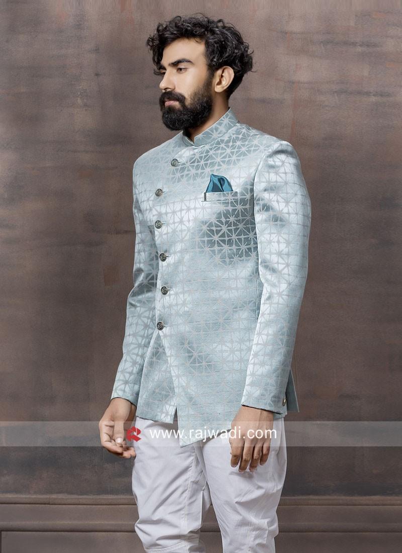 Sky Blue Imported Fabric Jodhpuri Suit