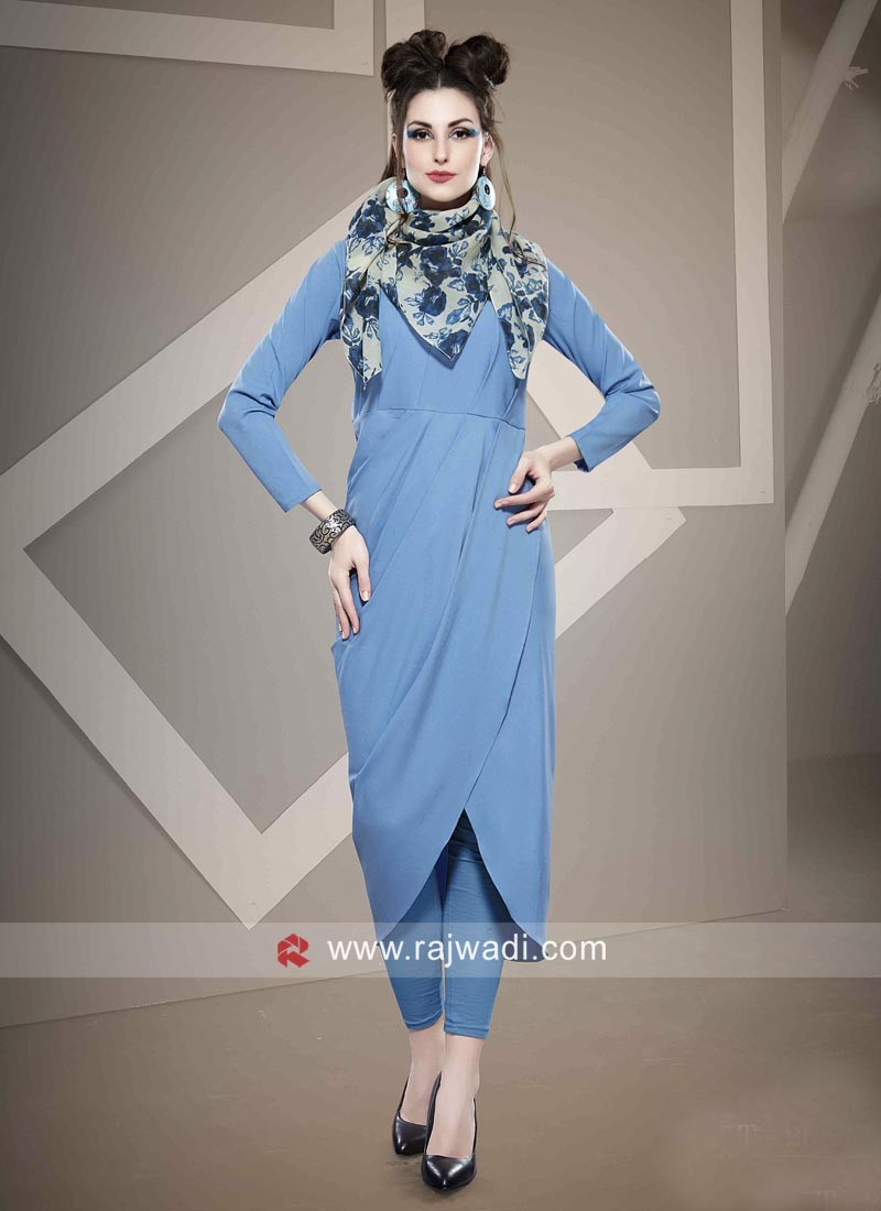 Sky Blue Tunic with Scarf